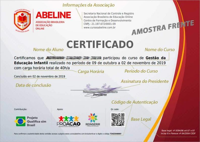 Modelo do nosso certificado - FRENTE