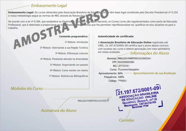Modelo do nosso certificado - VERSO